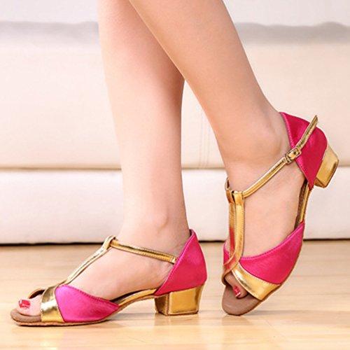 Lihaer Sandales Respirant Bas Femmes Talon D'été Des Filles Professionnelles Chaussures De Danse Latine Rose