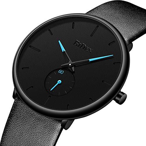 Men Watches Ultra Thin Minimalist Black Leather Wrist Watch for Men Luxury Elegant Business Fashion Mens Watch Waterproof Date Calendar Casual Quartz Watches