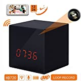 , LIZVIE GF-H100 Mini WiFi Spy Hidden Camera Clock With Night Vision ,10mtrs Fluent Detailed Video And Sound Remote Control for IOS and Android Smartphone