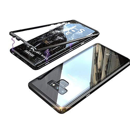 Transparent Metal - Magnetic Adsorption Case for Samsung Galaxy Note 9 Case Luxury Shockproof Metal Bumper+Transparent Tempered Glass for Samsung Galaxy Note 9 Phone Cover Case Protective Case Shell (Black+Black)