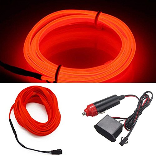 HomDSim 9.84ft/3m Auto Car Neon LED Panel Gap String Strip Light, Glowing Electroluminescent Wire/El Wire Lamp, Cold Strobing for Automotive Interior Car Decor Decorative Atmosphere,6mm Sewing Edge