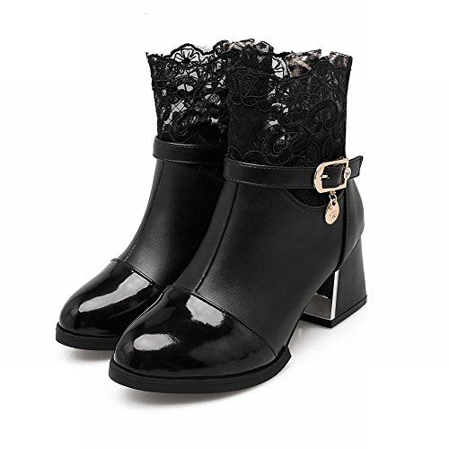 Carolbar Womens Zip Lace Buckle Elegance Fall Mid Heel Short Dress Boots Black 2NsiDuaxPZ