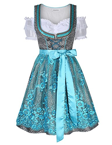 Clearlove Women German Dirndl Dress Costumes for Bavarian Oktoberfest Halloween Carnival (2XL, Blue) -