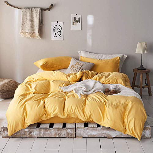 "mixinni 3 Pieces Modern Style Duvet Cover Set Solid Color Gold Microfiber Bedding Cover Set with Zipper Ties for""Him and Her"" (1 Duvet Cover + 2 Pillow Shams),Easy Care,Soft,Durable (Gold,Queen Size)"