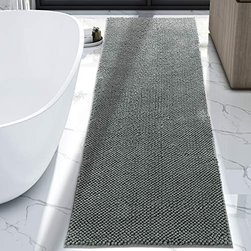 Lifewit Bath Runner Rug Chenille Area Mat Rugs for Bathroom Kitchen Entryway Bedroom Machine Washable Water Absorbent with Non-Slip Rubber Collection Shag Rug, 2'2 x 5'11, Grey (Bathroom Runners Carpet)