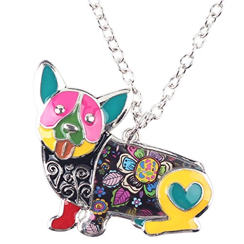 BONSNY Love Heart Enamel Zinc Alloy Metal Corgi Dog Necklace Animal pendant Unique Design (Multicolor)