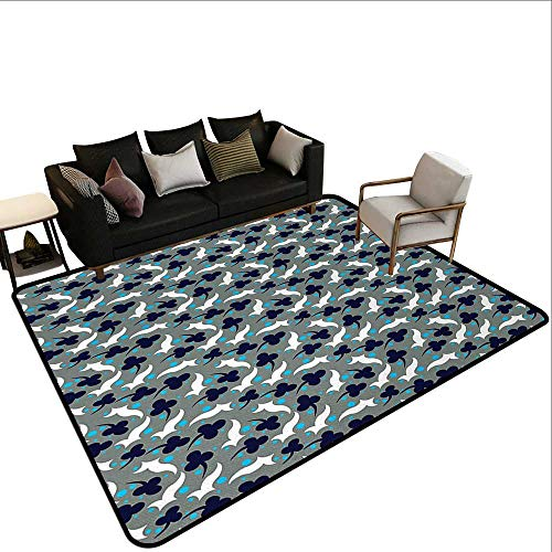 (rv Outdoor Rugs Abstract,Vintage Style Oriental Elements Floral and Dotted Design Asian Chinese Graphic Art,Multicolor,for Living Room Bedrooms Kids Nursery Home Decor 5'x 8')