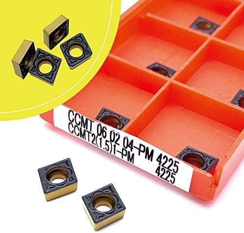 WITHOUT BRAND CCMT060204 PM4225 CCMT060208 PM4225 Drehwerkzeug Karbidklinge CNC-Drehmaschine Werkzeug Ccmt060204 Pm 4225 Ccmt060208 Pm 4225 (Farbe : 10pcs(Boxes), Größe : CCMT060204 PM 4225)