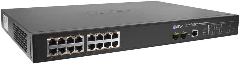 BV-Tech 18 Port Gigabit PoE+ Managed Switch (16 PoE+ Ports   2 SFP Uplink) – 190W Support Hi-PoE 60W – 802.3at