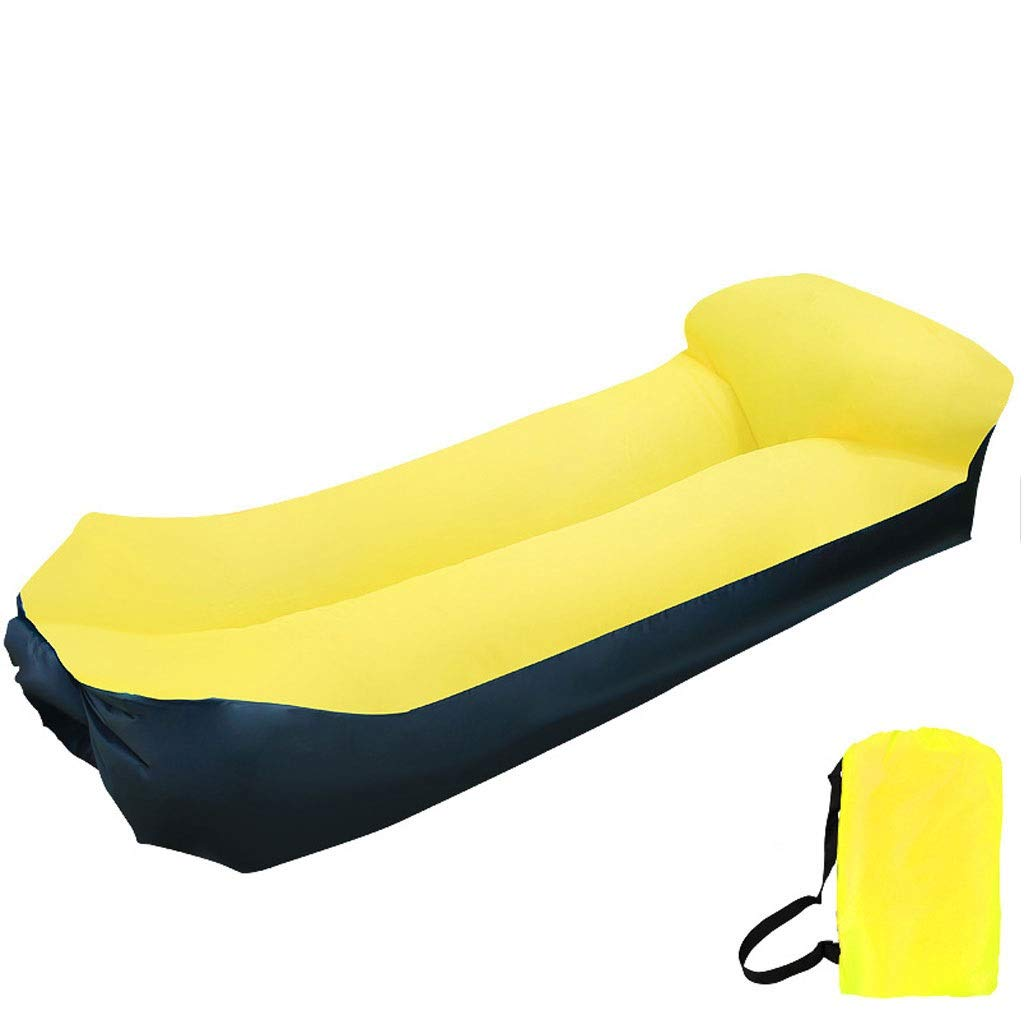 Inflatable Lounger Air Sofa Blow Up Couch Chair Outdoor Lazy Sofa Air Lounger Inflatable Lazy Bag Air Hammock Portable-Couch for Beach Traveling Camping Park Picnics & Swimming Pool (Color : Yellow) by Chenguojian