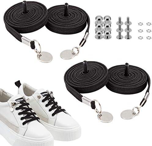 靴ひも 結ばない ゴム製 ポリエステル製 伸びる靴紐 ほどけない 脱ぎ履きが楽々 メンズ レディース用 子供から高齢者まで対応でき 白いとブラック 2足セット
