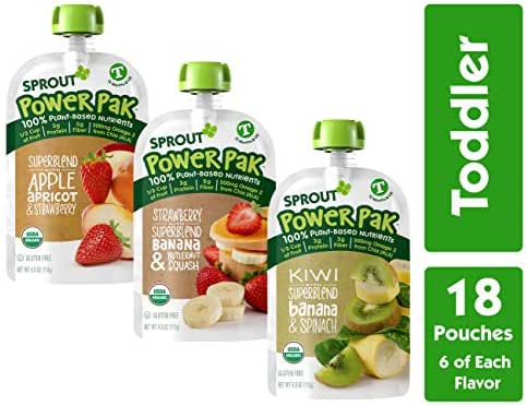 Sprout Organic Stage 4 Toddler Food Power Pak Pouches, Variety Pack, 4 Ounce (Pack of 18) 6 of Each Superblend: Strawberry Banana Butternut, Apple Apricot Strawberry & Kiwi Banana Spinach