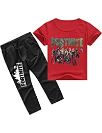EMILYLE Kids Fortnite T-Shirt Tops with Long Pants Games Outfit Clothes Set