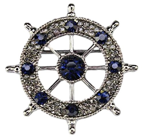 hideaway Rhinestone Ship's wheel Brooch [ Color : Gold/Black ] Steering Wheel Brooch (Black)