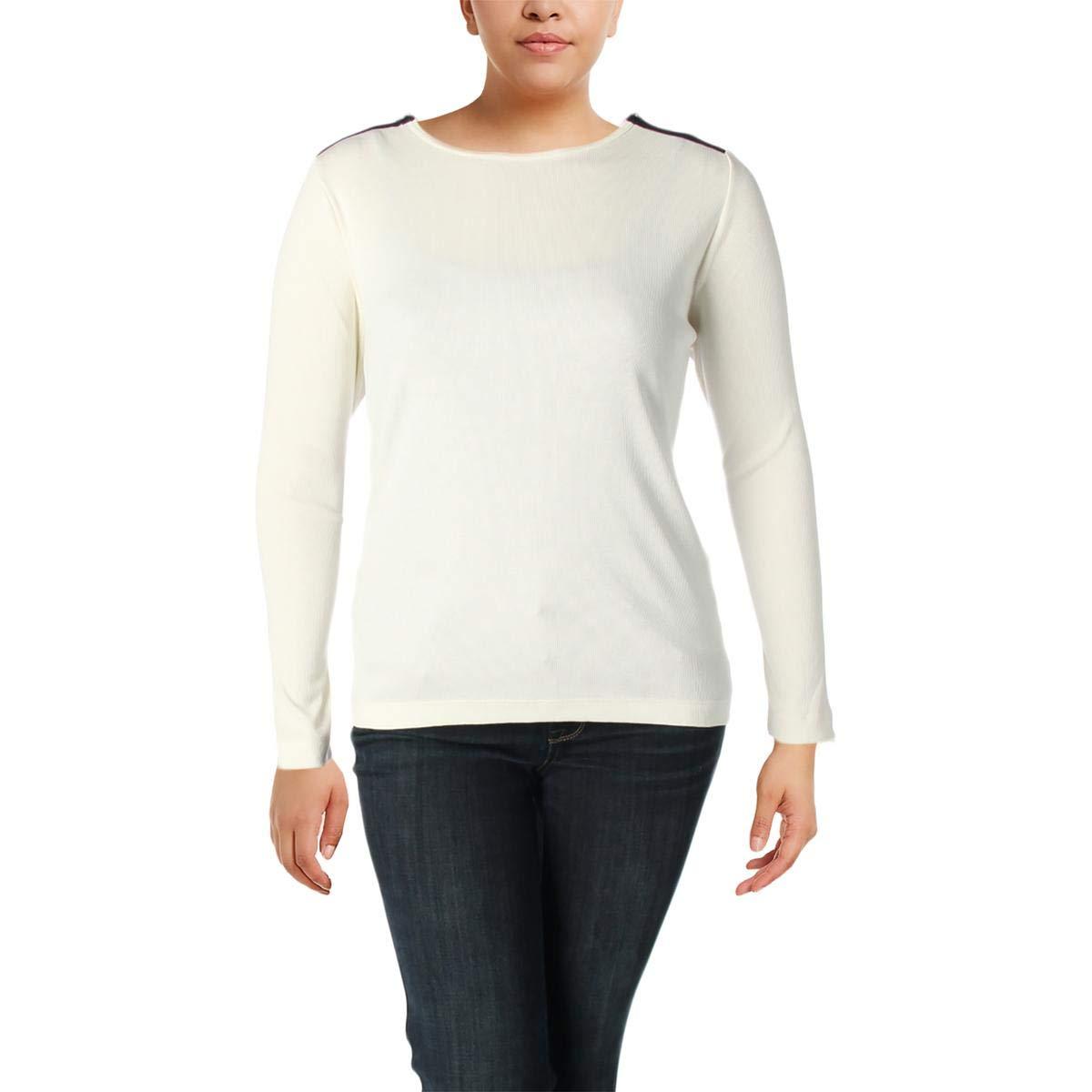 Lauren Ralph Lauren Womens Plus Casual Rib Knit Knit Top Ivory 2X
