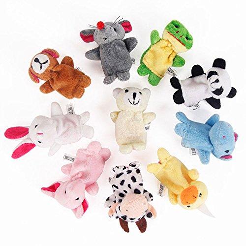 - Mincy 10pcs Soft Plush Animal Finger Puppets Set Baby Story Time Velvet Animal Style Dolls Props Toys for Toddlers