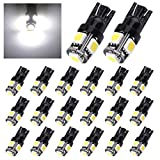 Automotive : YITAMOTOR 20 x White T10 5-SMD LED Light bulbs W5W 2825 158 192 168 194 for Car Replacement Interior Lights Clearance Wedge Dome Trunk Dashboard Bulb License Plate Light Lamp