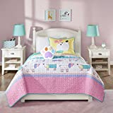 3 Piece Kids Puppy Dog Coverlet Twin Set, Cute Adorable Playful Pup Dogs Bedding, Children Fun Paw Print Love Doggies Puppies Animal Themed, Multi Color Horizontal Stripe Pattern, Pink Yellow Purple