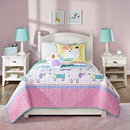 4 Piece Kids Puppy Dog Coverlet Full Queen Set, Cute Adorable Playful Pup Dogs Bedding, Children Fun Paw Print Love Doggies Puppies Animal Themed, Multi Horizontal Stripe Pattern, Pink Yellow Purple