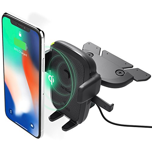 iOttie Easy One Touch Qi Wireless Fast Charge CD Slot Mount for Samsung Galaxy S9 S9 Plus S8, S7/S7 Edge, Note 8 5 & Standard Charge for iPhone X, 8/8 Plus & Qi Enabled Devices Includes Dual Car Charger