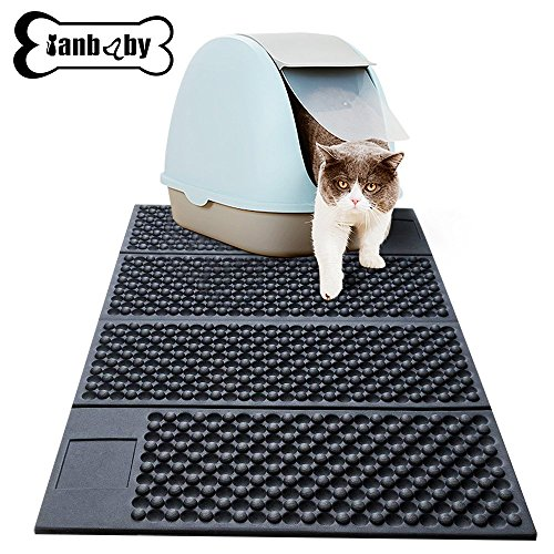 YIAN BABY Pet Products Pet Mat Foldable Non-slip Dog/Cat Food Mats with Polyester Fibre + EVA Materiel Durable Resistance for Food and Water Sleep Bed Floors (Black)