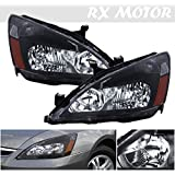 2003-2006 Honda Accord Coupe Sedan Headlight Direct Replacement Lamps Assembly Black