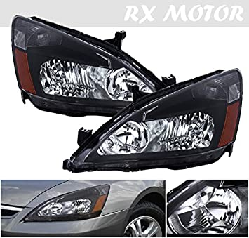2003 2006 Honda Accord Coupe Sedan Headlight Direct Replacement Lamps  Assembly Black