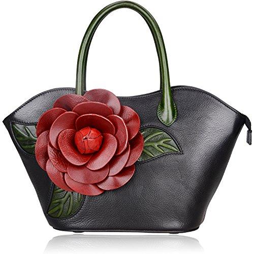 Pijushi Designer Inspired Ladies Handmade Leather Tote Shoulder Bags Holiday Gift 8828 (Black)