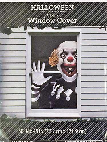 Halloween Decoration Scary Clown Window Cover [1 poster per pack] 30 in x 48 in