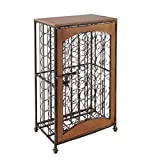 Wine Rack 48-Bottle Antiqued Steel & Wood Accent Antiqued Steel & Wood Combines Function with Elegance for Attractive Wine Storage.