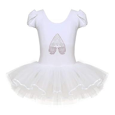 8770eeef10 Freebily Little Big Girls Kids Sequined Ballerina Shoe Ballet Dance  Gymnastics Leotard Tutu Dress Dancewear Ivory