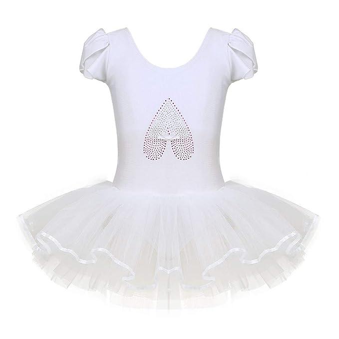 iixpin Vestido Infatil de Danza Maillot de Ballet Manga Corta ...