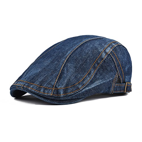 Denim Newsboy - VOBOOM Men Denim Jeans Newsboy Beret Hat Duckbill Buckle Cabbie Cap (Dark Blue)