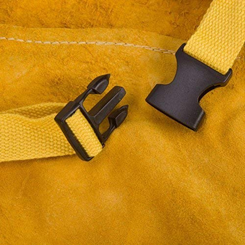 Phoenixfly99 Leather Welding Bib Apron Cowhide Split Leather Safety Apparel Flame Resistant Apron With Pocket Yellow (28-Inch By 39-Inch) by Phoenixfly99 (Image #6)