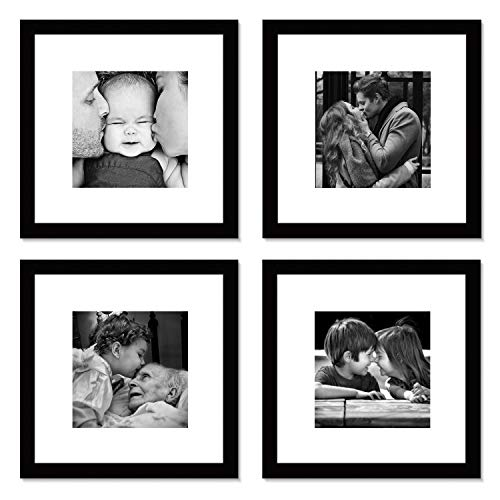WOOD MEETS COLOR Picture Frames Set, Wall Gallery Collage Frames, Real Glass Window and Photo Mats (4-12x12)]()