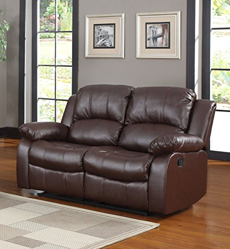 Classic and Traditional Brown Bonded Leather Recliner Chair, Love Seat, Sofa Size - 1 Seater, 2 Seater, 3 Seater Set (2 Seater)