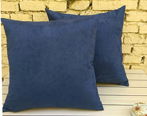 Leather Accent Pillow (2 pcs Pack Aitliving Solid Throw Pillow Covers Cases Cushion Pillow Covers, Ultra Soft Faux Suede Both Sides, 18 X 18 Inch, Navy Blue, 45X45cm)