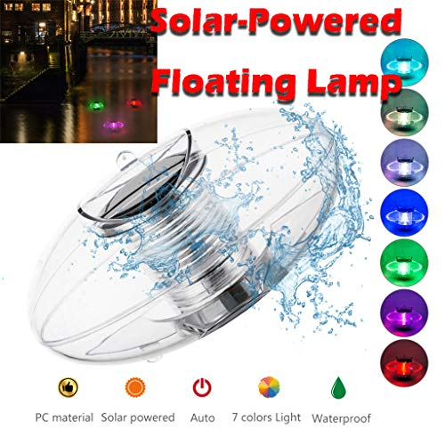 SAYEI Solar Floating Pond Light Waterproof 7 Color Changing LED Solar Swimming Pool Pond Colorful Built-in Rechargeable Decoration Garden Yard Lake Fish Tank Fountain Driveway Patio Flowerbeds Lamp