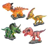 Bobble Head Dinosaur Toys, YKL WORLD Shaking Head Dinosaurs Figures for Car Interior Display, Tyrannosaurus Rex Triceratops Parasaurolophus Saichania Action Statue Figurine Gifts for Kids, Set of 4pcs