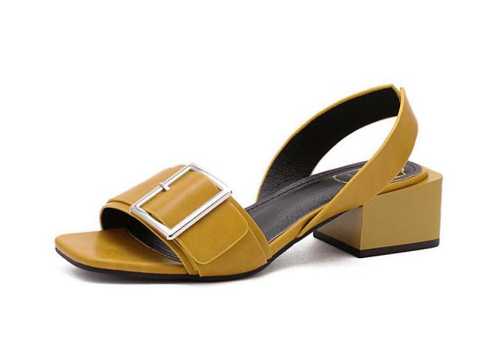 Pompe 4cm Chunkly Heel Open Toe Slingback Boucle de ceinture en métal Des sandales Dame Simple Creux D'orsay Sangle de cheville Talons hauts Des sandales Chaussures habillées Chaussures décontractées