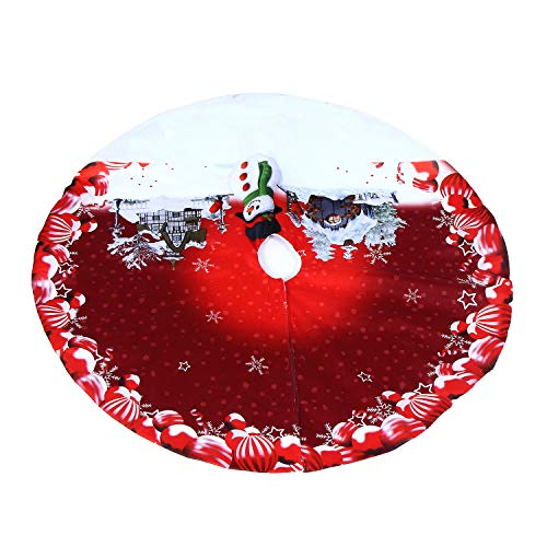 - Christmas Tree Skirts, MineShaChristmas 90cm Christmas Tree Plush Skirt Ornaments Snowman Tree Carpets Tree Decoration for Christmas New Year Party Supply (90cm, Wine Red)