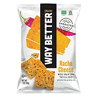 Way Better Snacks Sprouted Gluten Free Tortilla Chips, A Nacho Above, 1 Ounce (Pack of 12)