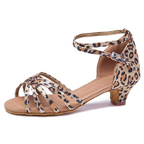HROYL Girl&Women Satin Latin Dance Shoes Ballroom Salsa Tango Performance Shoes Low Heel Model-SS-XGG Leopard 6 US