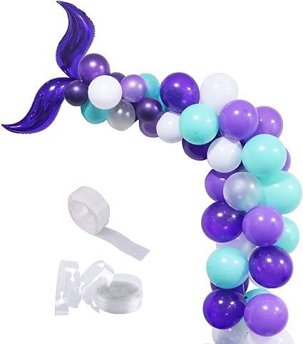 Sirena Mermaid Shell Birthday Balloon Bouquet 13 Pieces Mylar Balloon Latex