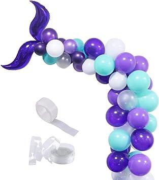 Amazon.com: Juego de globos de cola de sirena para ...