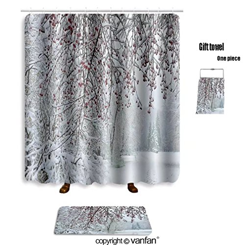 vanfan bath sets with Polyester rugs and shower curtain a snow covered branch of wild apple tree with shower curtains sets bathroom 66 x 72 inches&23.6 x 15.7 inches(Free 1 towel and 12 hooks)