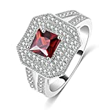 Floating Stools MoAndy 14K Silver Plated Rings Women's Signet Rings Cubic Zirconia Hexagonal Shape Ruby Size 9 Red