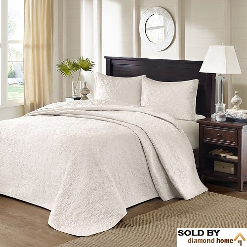 3 Piece Oversized King Bedspread to the Floor Set, Solid Ivory Cream Warm Tone, 120 Inches X 118 Inches, Coverlet Allover Quilt Drops Over Edge of King Beds, Microfiber, Stylish and Stitched Classic!
