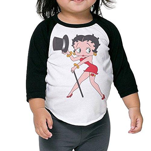 Toddler Geek Betty Boop Costume 100% Cotton 3/4 Sleeve Athletic Baseball Raglan Tee Shirts Black US Size 2 Toddler