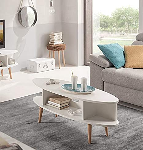 Hogar24 Es Table Basse Ovale Design Vintage Mdf Laque Blanc Et